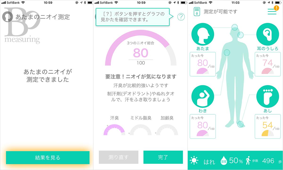 Kunkun bodyアプリの画面。体臭計測結果と説明が表示されている