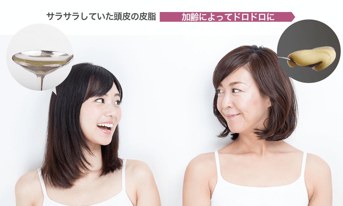 加齢とともに頭皮の皮脂がドロドロになり、頭皮に残りやすくなる