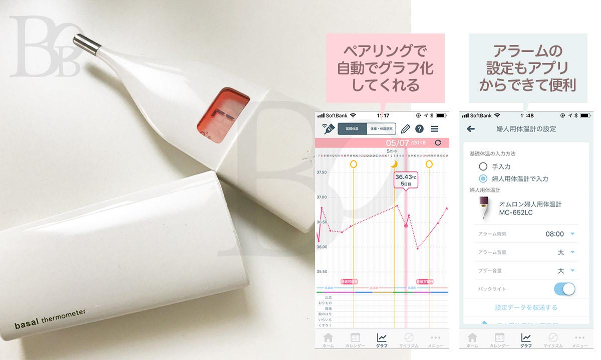 オムロンの婦人体温計〜アプリと連携してグラフ化、アラーム設定なども
