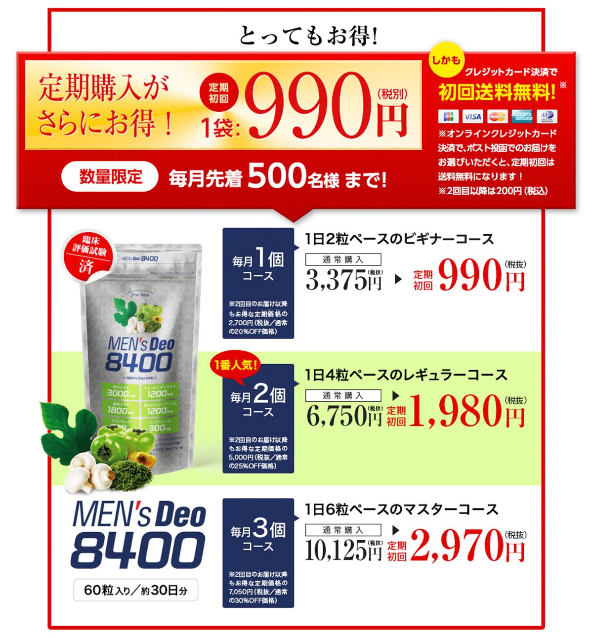 メンズデオ8400の定価・定期購入価格